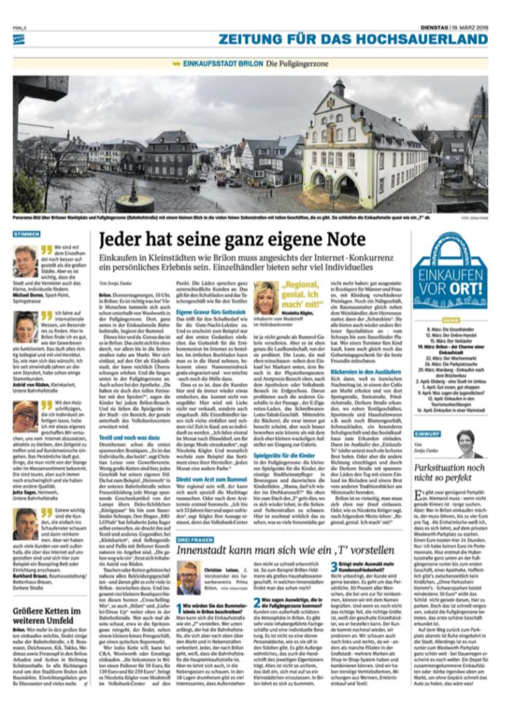 Zeitungsartikel Westfalenpost brilon 19.03.2019